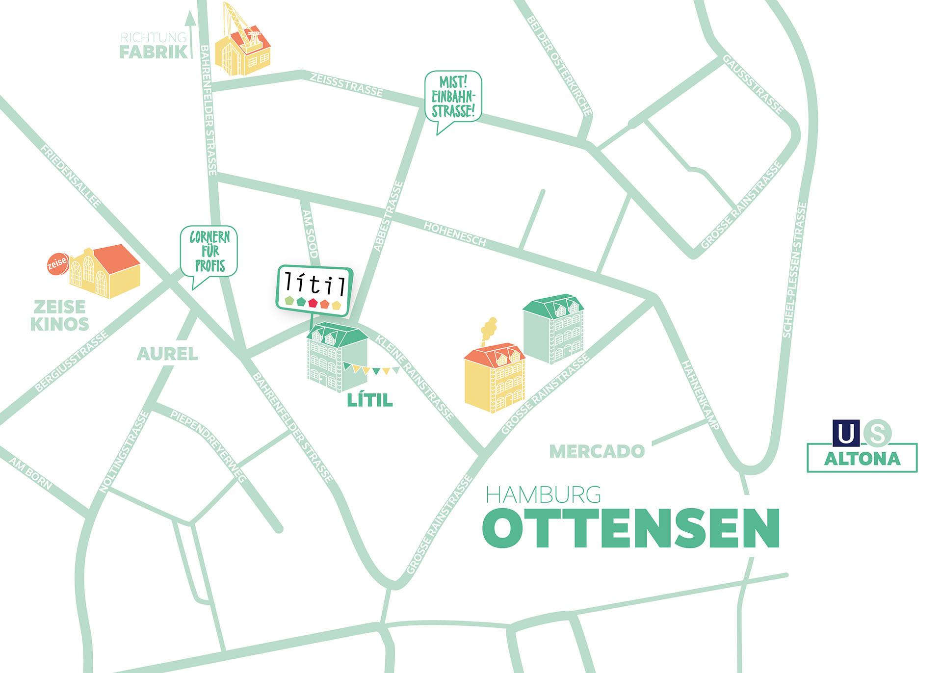 Straßenkarte Litil Webbesdhreibung Litil Hamburg Ottensen